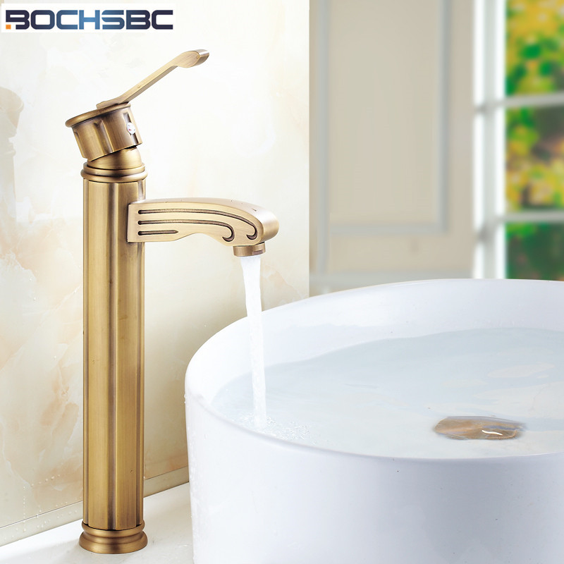 BOCHSBC Antique Brass Faucet European Retro Gold Faucets Vintage  Bathroom Faucet Deck Mounted Hot Cold Water Mixer Sink Faucet flg multiple choices bath mat gold bathroom faucets deck mounted bird robinet cold