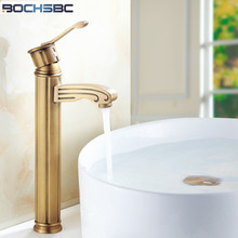 BOCHSBC Antique Brass Faucet European Retro Gold Faucets Vintage Bathroom  Faucet Deck Mounted Hot Cold Water