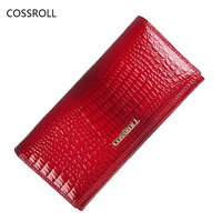 Cossroll Famous Brand Women Wallets Genuine Leather Long Purse Luxury Brand Women Wallet Leather Ladies Coin