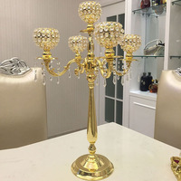76cm Tall 5 arms Gold candelabras with crystal pendals,wedding crystal candle holder Table centerpiece