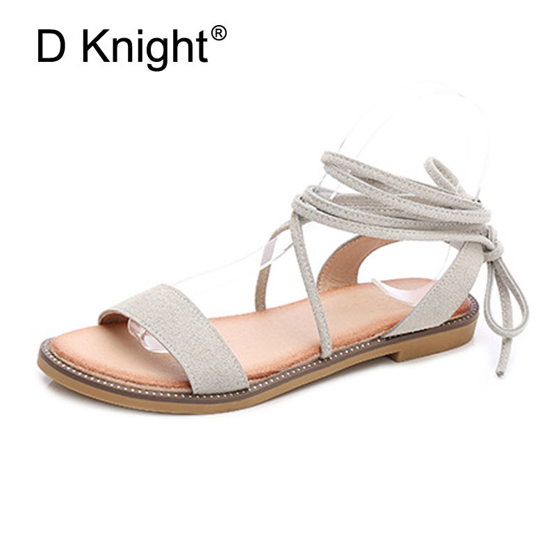 Ankle Strap Gladiator Sandals Women Flats 2018 Summer Rome Shoes Ladies Causal Beach Sandals Bohemian Big Size 35-41 Black Brown