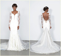 2018 Long Illusion Sleeves Vintage vestido Sweetheart Lace Appliques Backless Bridal Gown Mermaid mother of the bride dresses