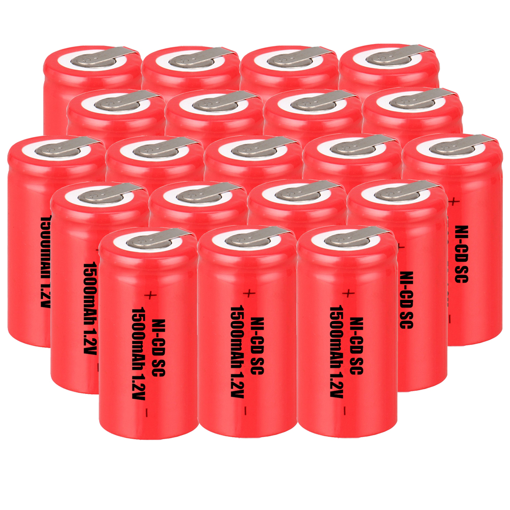 Lowest price 20 piece SC battery 1.2v batteries rechargeable 1500mAh nicd battery for power tools akkumulator