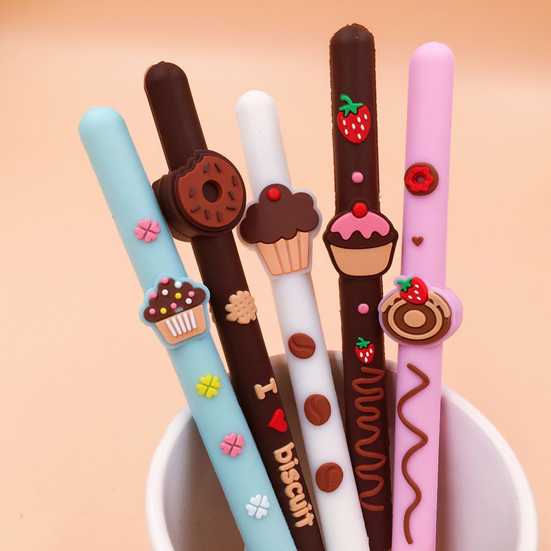 Chocolate Biscuit Scented Gel Pen Food Silicone Scented Pen 5pcs/lot