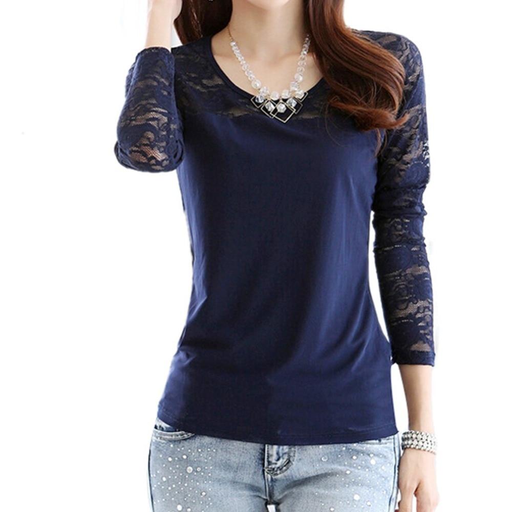 Korean Style font b Women b font Long Sleeve font b Blouse b font Stitching Lace