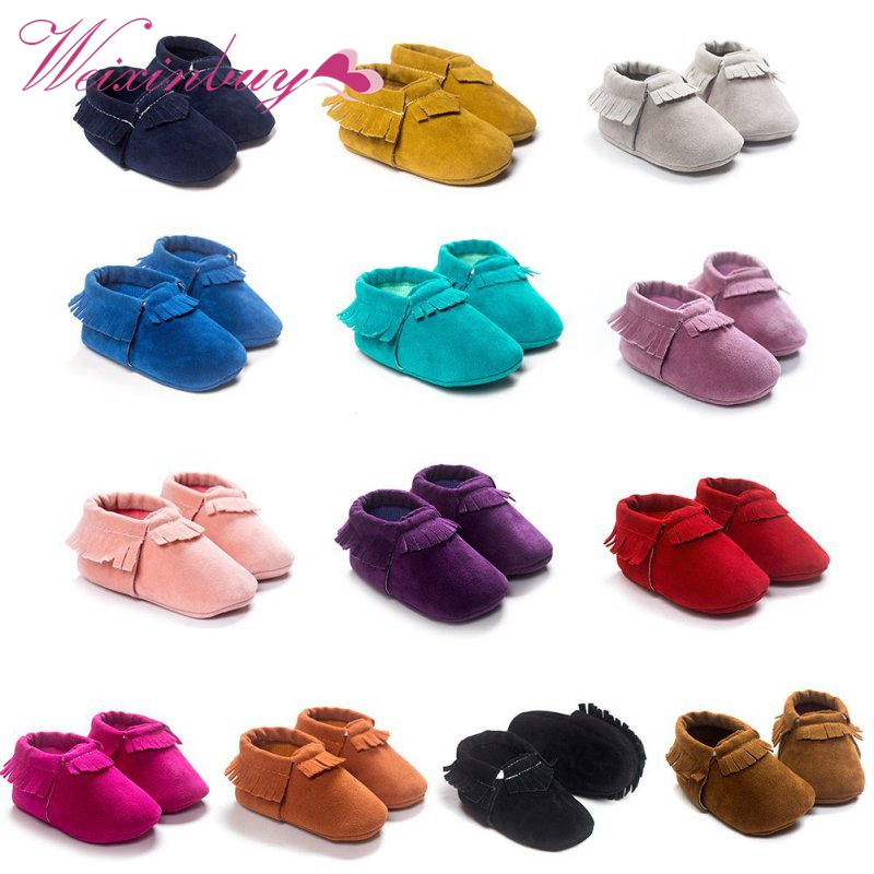 21 styles Spring Autum Baby Shoes Newborn Boys Girls PU Suede Leather Moccasins Toddler Tassel First Walkers