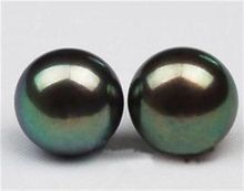 цены 10 Pairswholesale Charming Natural 10-11mm Black Tahitian Pearl Earring AA YL077