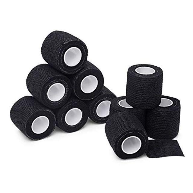 6 Stuks Tattoo Bandage Roll Zelfklevend Samenhangend Tape Sport Tape Pols Zelfklevende Voor Tattoo Cover Accessoires zwarte Kleur