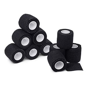 Image 1 - 6pcs Tattoo bandage roll self adherent cohesive tape sports tape wrist self adhesive for tattoo cover accessories black color
