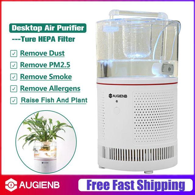 AUGIENB Home Office HEPA Desktop Ionizer Air Purifier + Aquarium Filter for Allergies / Mold / Smoke / Dust / Pet Dander / VOC