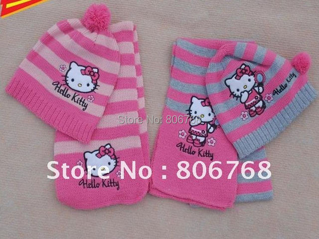 free shipping Christmas Gift  2015 girl fashion Cap Girls love hello kitty fashion scarf +hat knitting