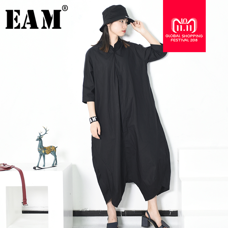 [EAM] 2018 Autumn Stnad Collar Pocket New Personality Loose Big Size Solid Color Half Sleeve O neck Jumpsuit Women Tide YA11