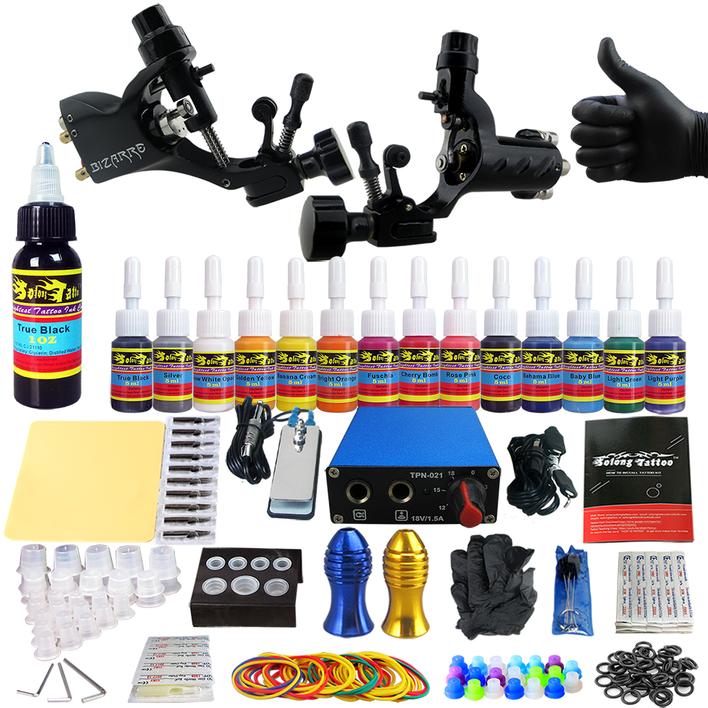 Solong Tattoo Complete Tattoo Kit Professional 2 Rotary Tattoo Machine Guns Kit Power Supply Grips Tubes Tips Needles TK203-19 europe god of darkness robert recommend gp self lock grips gp3 professional tattoo artist grip