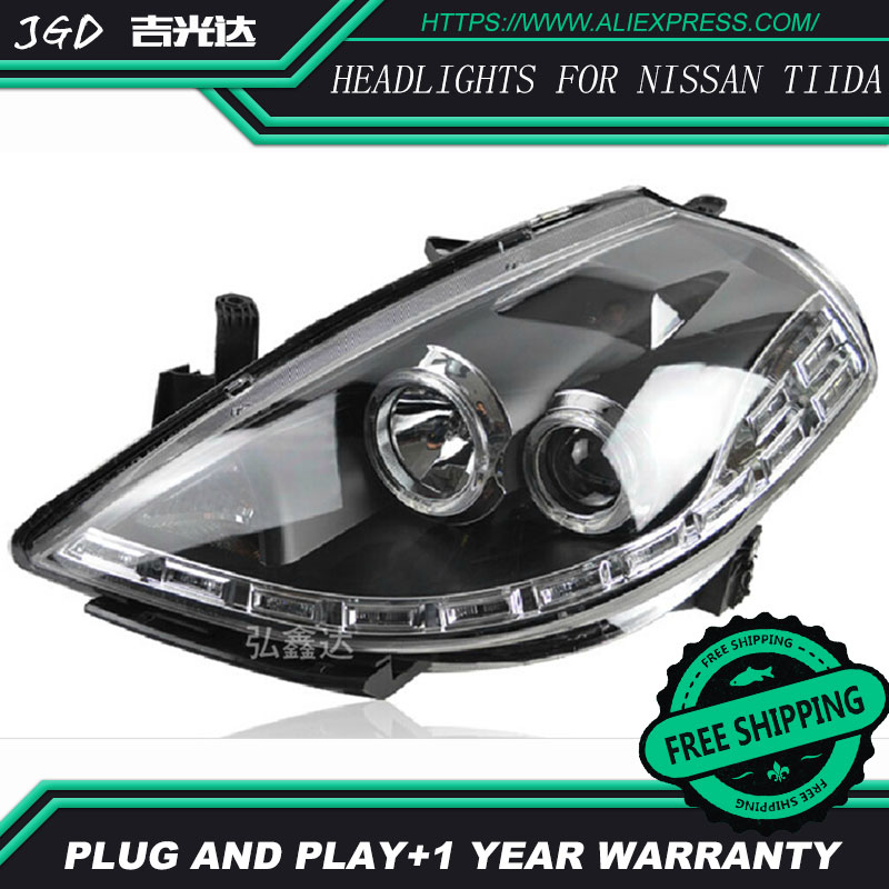 Car Styling Head Lamp case for Nissan Tiida headlights 2008-2010 Tiida LED Headlight DRL H7 D2H Hid Option Angel Eye Bi Xenon hireno headlamp for 2013 2015 nissan tiida headlight assembly led drl angel lens double beam hid xenon 2pcs