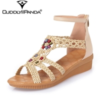 2017 Summer Cool String Bead Women Wedge Sandals Extra Size High Quality Knitting Sandalias Mujer Sexy