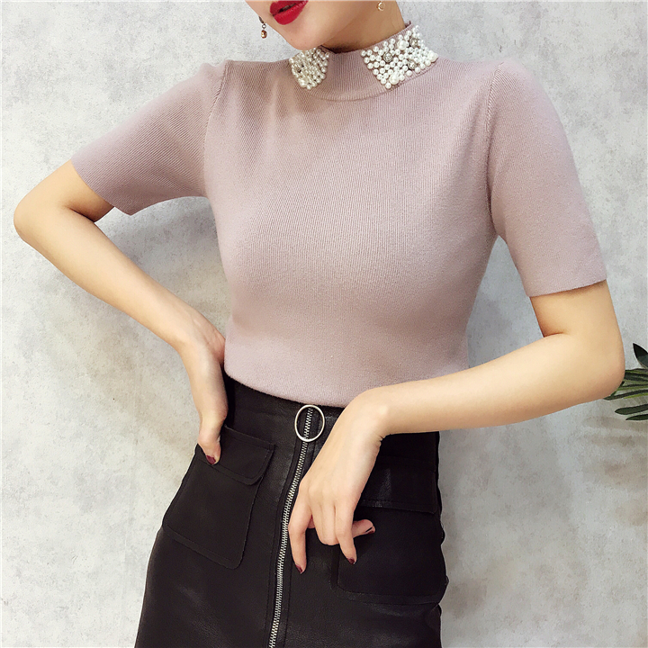 ALPHALMODA 18 Summer Ladies Short-sleeved Pearl Collar Pullovers Casual Slim Knit Sweater Women Studded Fashion Jumpers 30