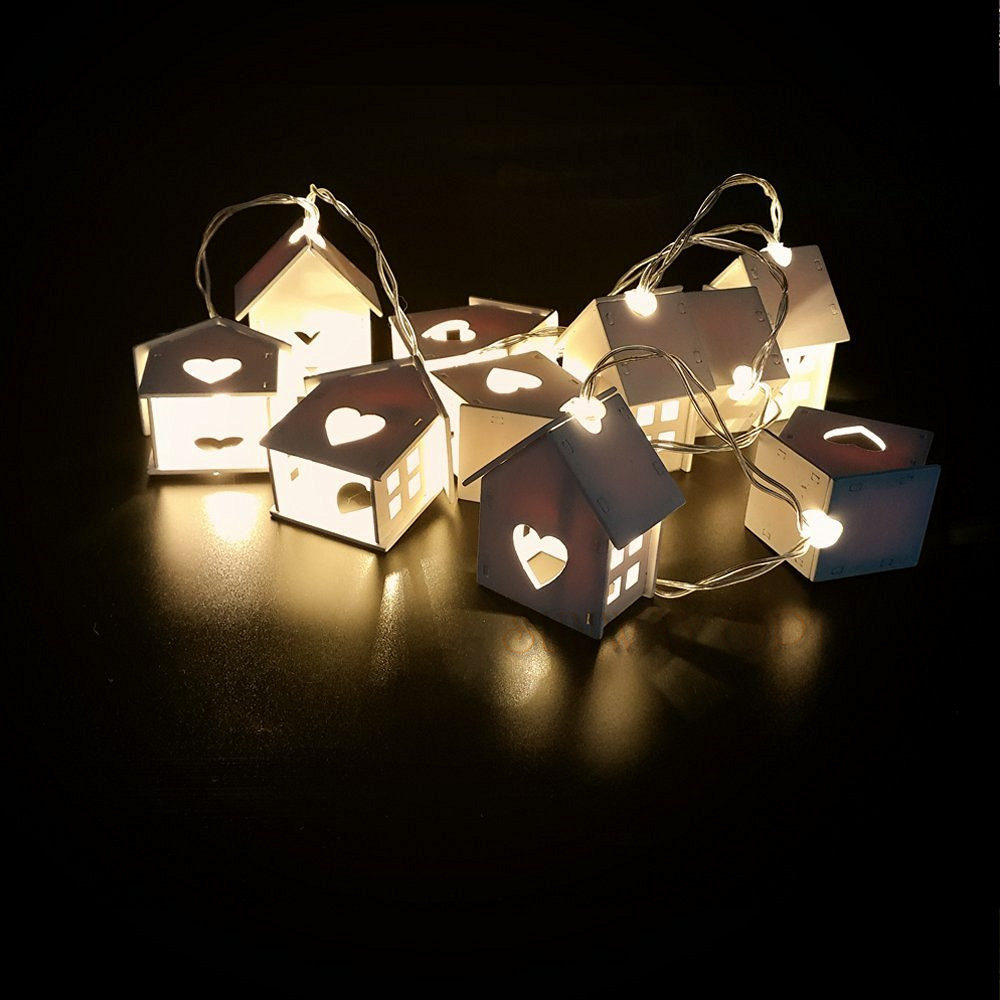 aliexpresscom buy 25m battery powered 10 house shape lighting string warm white christmas lights string for house party lighting room decoration from