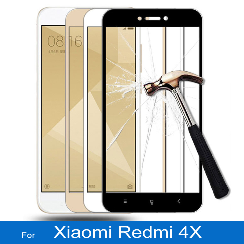Soft Edge 3D Full Cover Tempered Glass for Xiaomi Redmi 4X Screen Protector Phone Film black white gold xiomi redmi 4 x Glass(China)