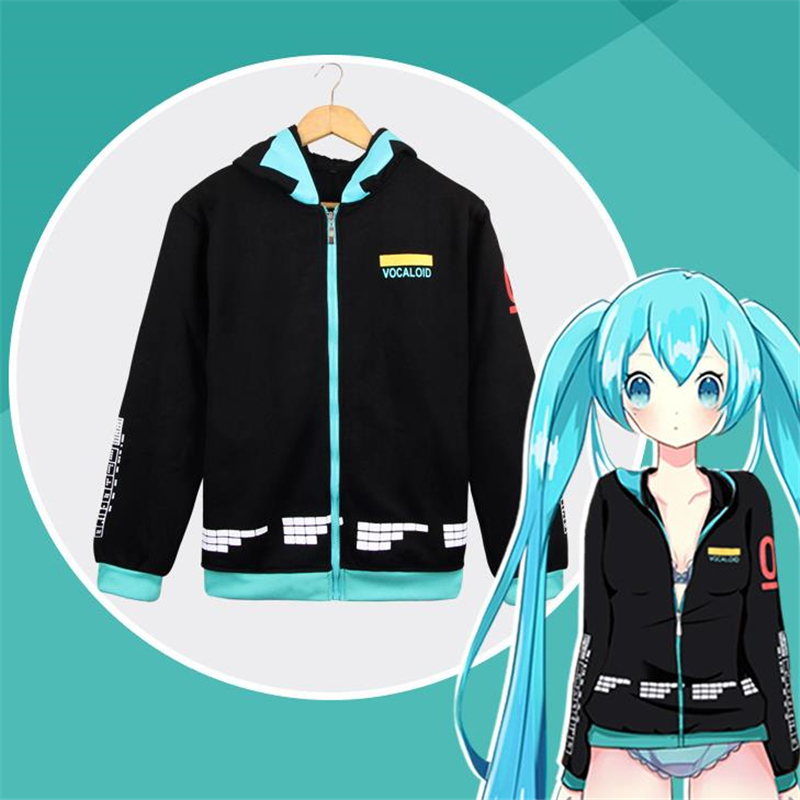 2019 New Hatsune Miku Cosplay Costumes Women Girls Cotton Hoodies Sweatshirt Daily Casual Thicken Jacket Coat Sweater Sportwear