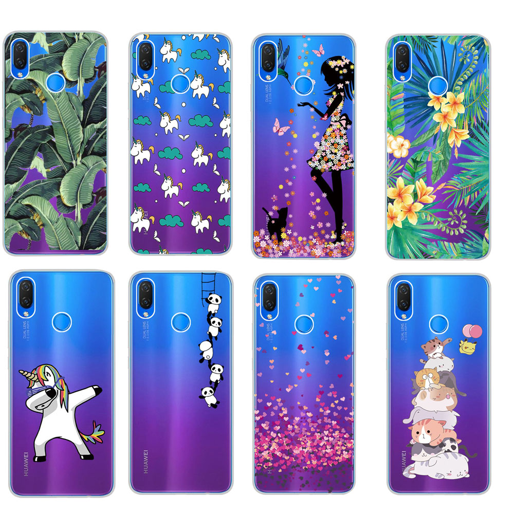 US $1 18 30% OFF Slim Thin Transparent Animal Patterned Soft TPU Case Cover  For Huawei Nova 3 Lotus Capa sFor Huawei P Smart Plus Honor 8X Coque-in
