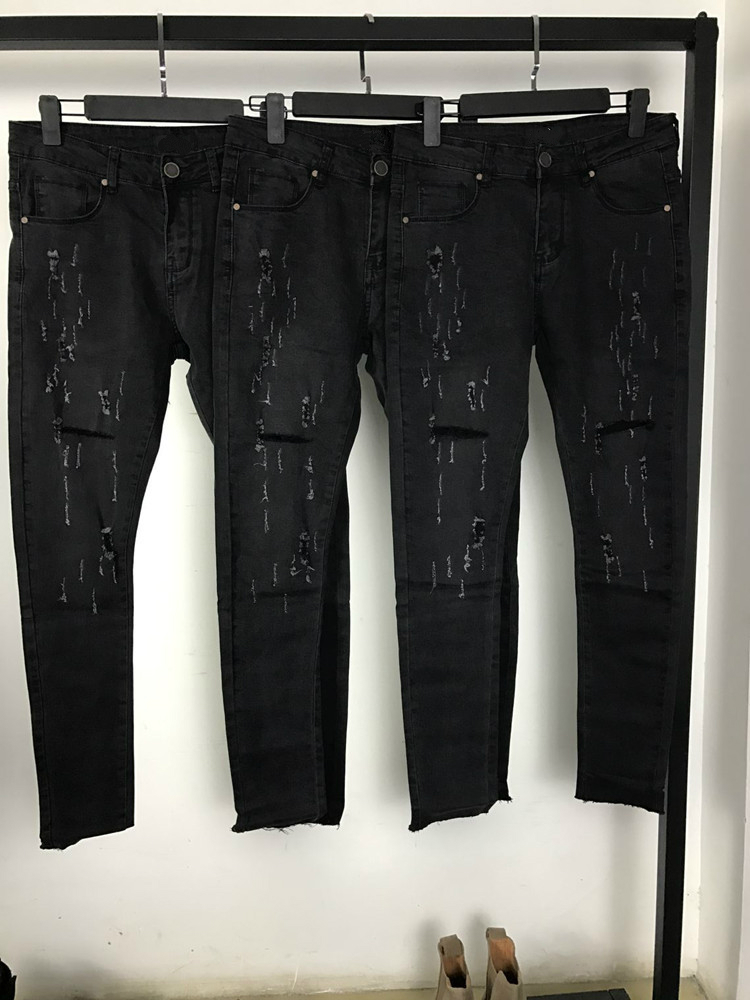Vintage Black Ripped Biker 2017 Mens Skinny Fit Distressed Leg Opening Denim Jeans Free Shipping