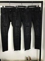 Vintage Czarny Ripped Biker 2018 Mężczyzna Skinny Fit Udzielenie Otwarcie Noga Denim Jeans Darmowa Wysyłka