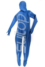 men 's latex zentai catsuits bodysuits for male Suitop in blue color heavy latex 1mm thickness