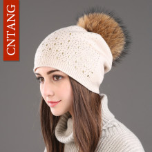 CNTANG 2017 Winter Female Hats Beanies Fashion Fur Headgear For Women Hat With Pompom Wool Warm Knitted Double Deck Caps Ladies