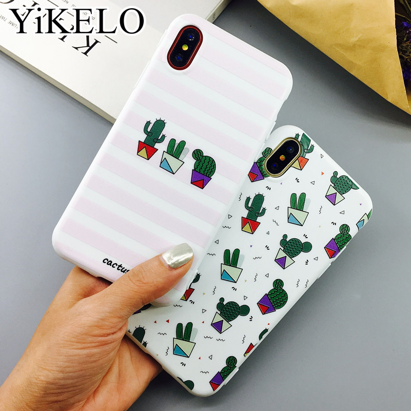 Galleria fotografica YiKELO Cactus Plants Painting Pattern Case For iPhone X 6 6s 7 Plus Soft TPU Rubber Silicon Cases Back Cover Coque For iphoneX