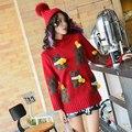 2017 primavera nueva Tailandia tide marca estudiante cabeza de oso rojo bordado femenino suéter suéter