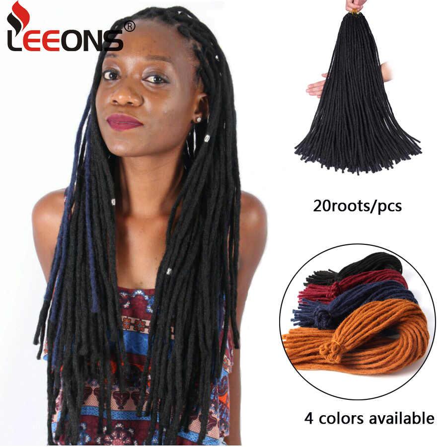 leeons soft dreadlocks crochet braids kanekalon jumbo dread hairstyle 22  inch synthetic braiding hair extensions black 4 colors
