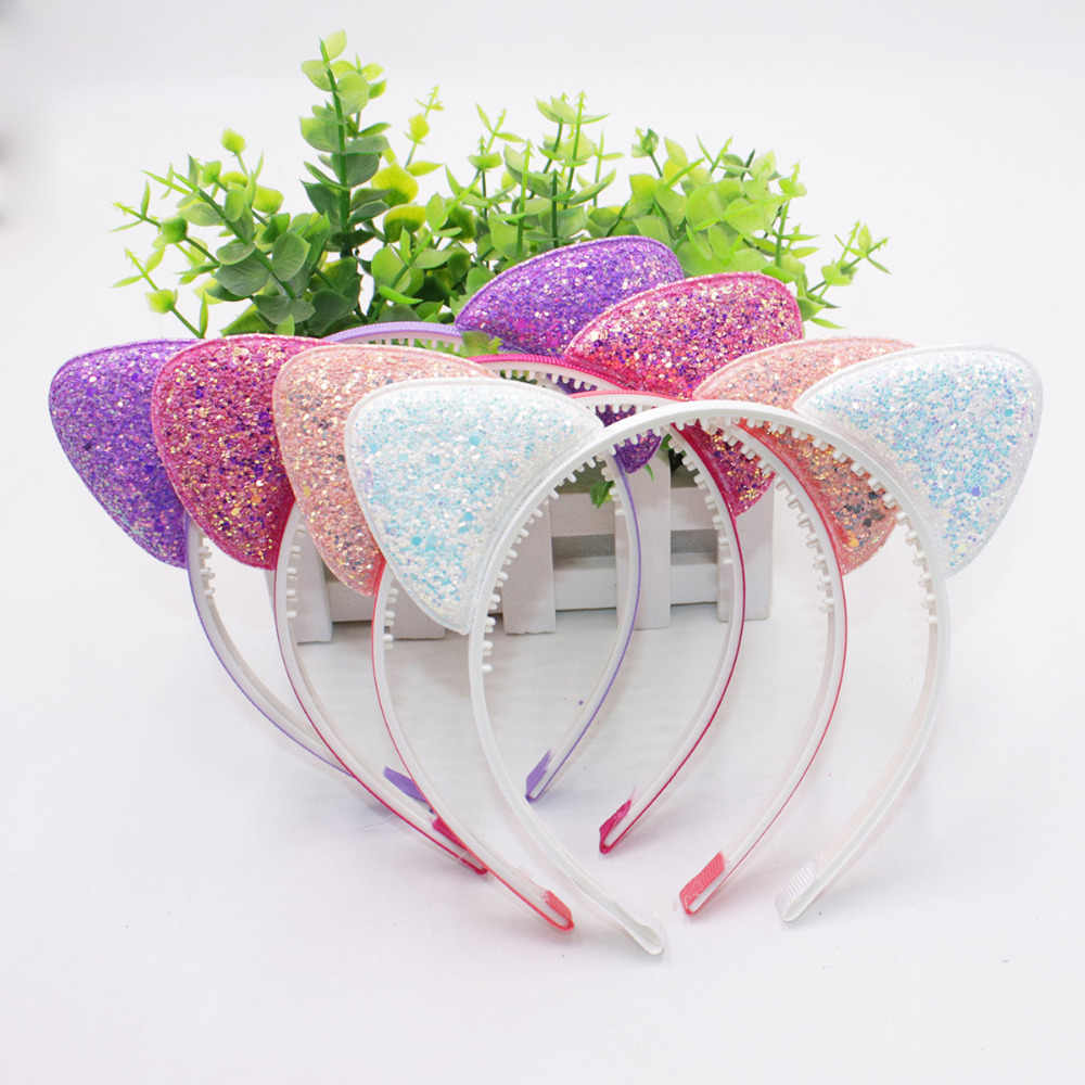 Cute Shiny Sequins Cat Ears Headband For Girl Manual Cat Ears Hairband Kid Hair Accessories For Women Cartoon Headband