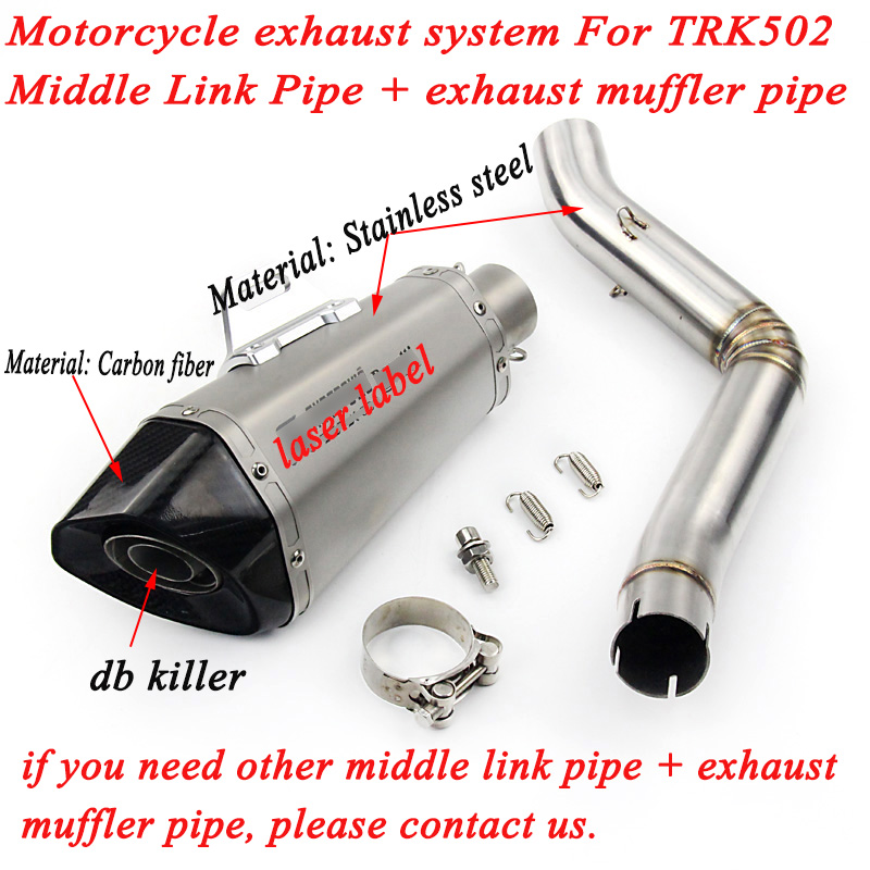 For Benelli TRK 502 Motorcycle Stainless Steel Middle Link System Slip on 51mm Exhaust Muffler Pipe