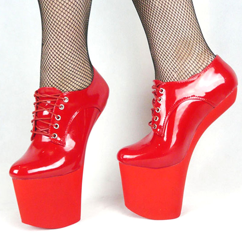 ФОТО BDSM plus size heelless high heel sexy shoes lace up more colors patent unisex