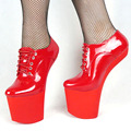 BDSM plus size heelless high heel sexy shoes lace up more colors patent unisex high heel shoes