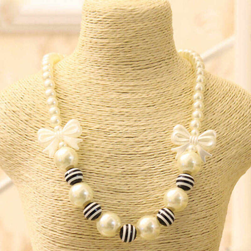 little Girls Black White Stripe Beads Statement Chunky Bubblegum Necklace Imitation pearls Black Bow Knot Gift Kids Jewelry