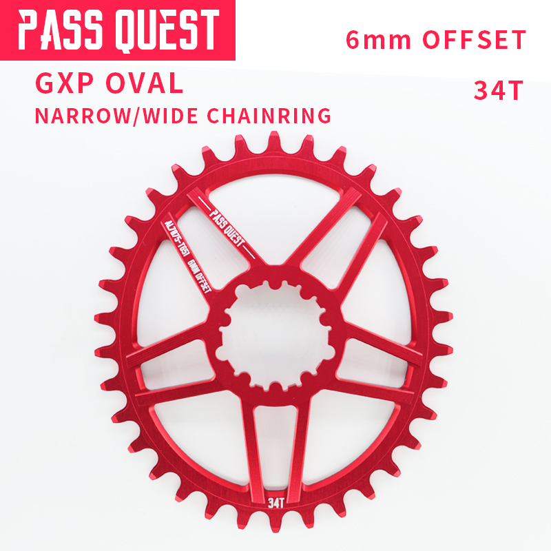 PASS QUEST Hot New GXP Oval Toothed Wheel 34 t Chainring Bicycle Mountain Bike Bicycle for