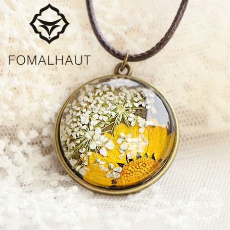 FOMALHAUT Pendant Necklaces Flowers Time Hand-Painted Women CX-123 Long-Strip Immortal