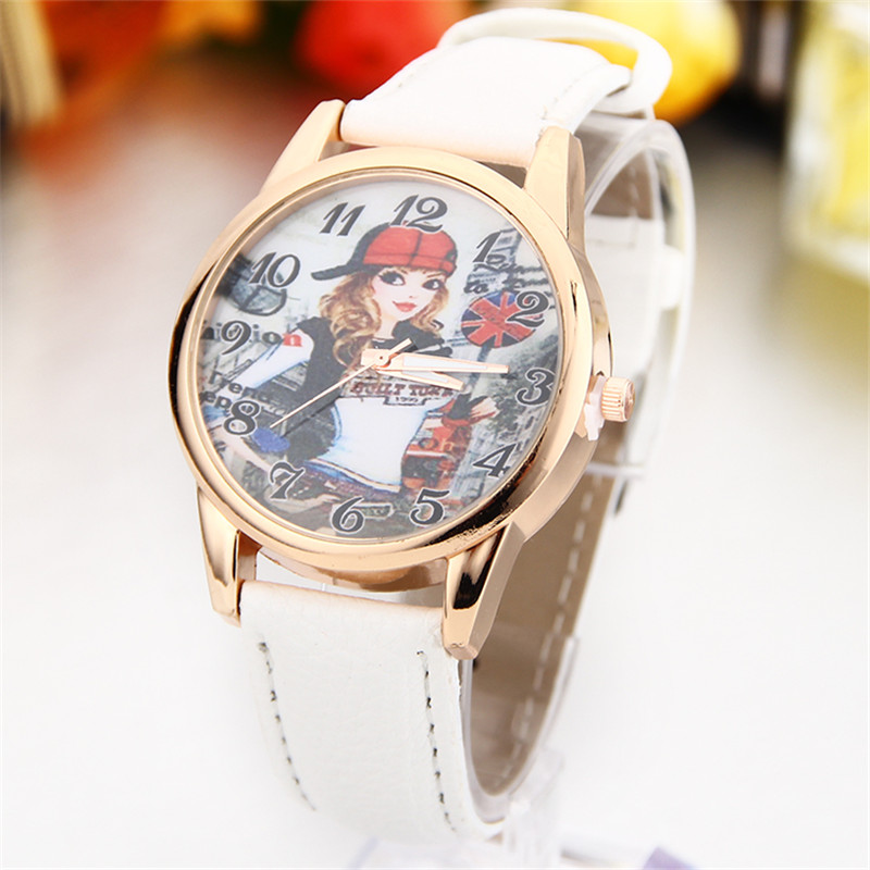 New Fashion Women Kids Watches Vintage Wristwatch Leather Fabric Strap Girl pattern Quartz Cartoon Watch gift Clock #W-059