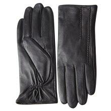 Genuine Leather Gloves Female Autumn Winter Warm Plus Velvet Thicken Full Touchscreen Sheepskin Woman L18007NC