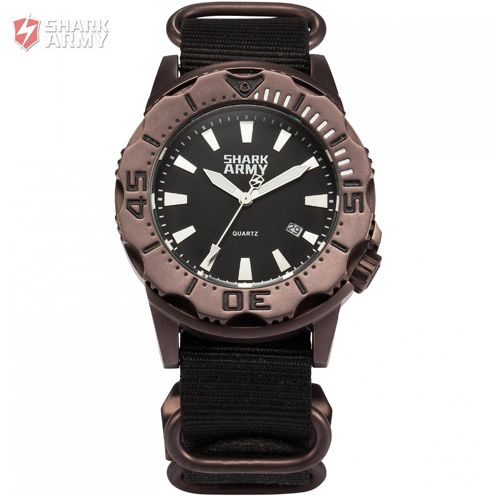 Top Luxury SHARK ARMY 100m Waterproof Auto Date Luminous Hands Nylon Band Black Clock Mens Sports Military   Wrist Watch /SAW191