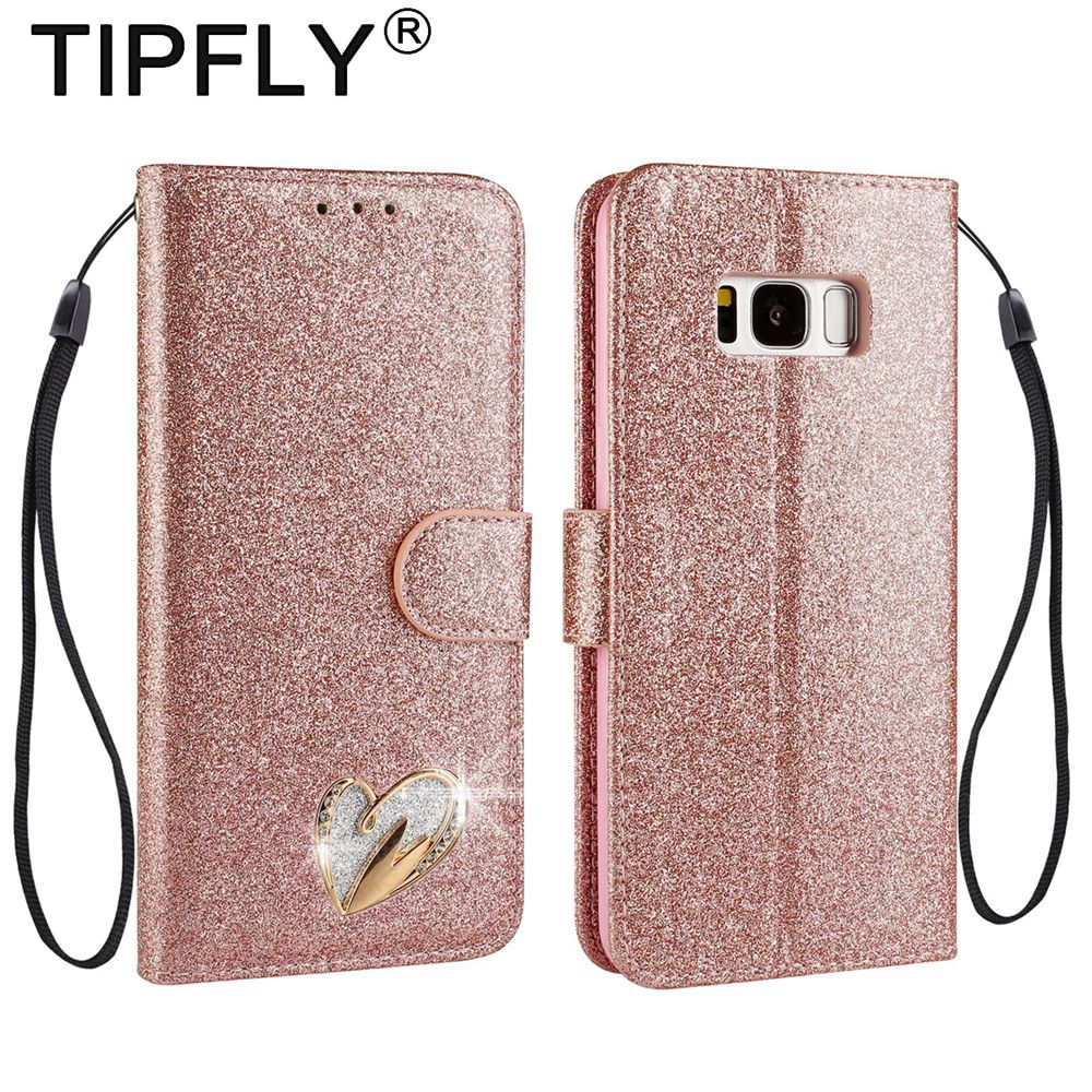 TIPFLY Bling Glitter Diamond Phone Cases For SAMSUNG Galaxy S 8 S8 Plus PU Leather Covers Capas For SAMSUNG S8 Book Flip Coque
