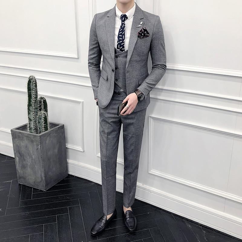 (Chaqueta + Pantalones) traje de boda de novio Formal de marca de gama alta trajes de hombre conjunto de 2 piezas/hombres de Color sólido Casual de negocios traje-in Trajes from Ropa de hombre    3