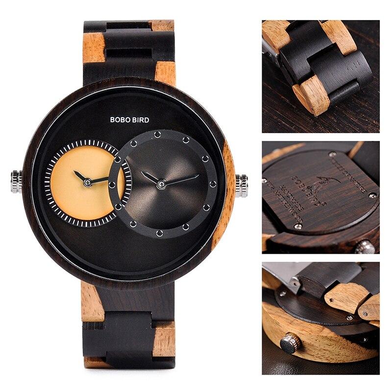 relogio masculino BOBO BIRD Watch Men 2 Time Zone Wooden Quartz Watches Women Design Men's Gift Wristwatches In Wooden Box W-R10 2