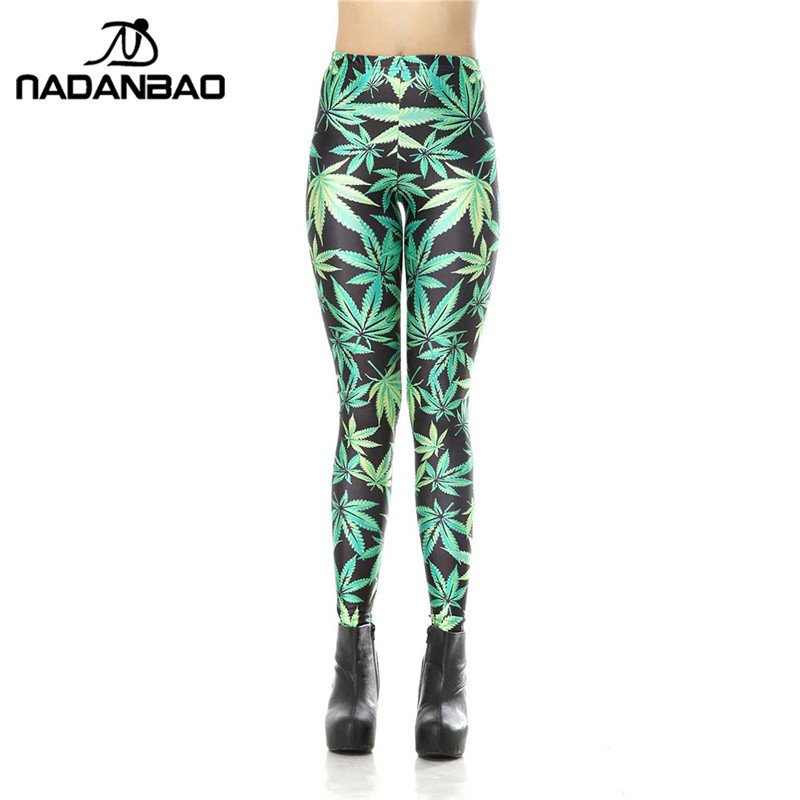 NADANBAO New Brand   Legging   High Waist Leggins Green Leaves 3D Digital Legins Printed Woman   Leggings   Women Pants