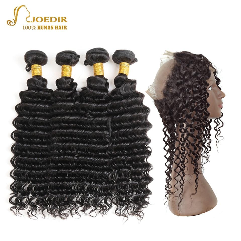 Joedir Bundles With 360 Frontal Closure Non Remy Brazilian Deep Wave 4 Bundles Human Hair 360 Lace Frontal With Bundles Deals