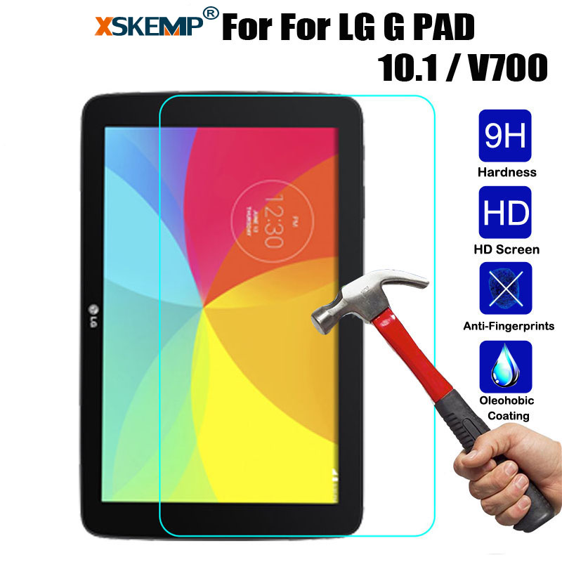 XSKEMP 9H Premium Screen Protector Tempered Glass For LG G PAD 10.1 / V700 0.3mm LCD Ultra Clear Tablet PC Protective Guard Film