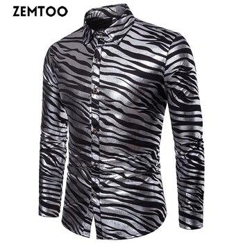 zemtoo Men Shirt 2018 Autumn New Arrival Long Sleeve British Style Casual Mens Dress Shirts Fashion Men Glossy Slim Fit Shirt
