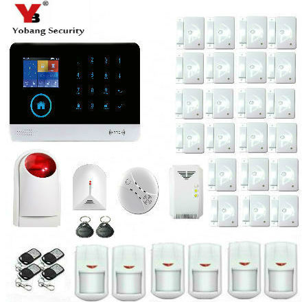YobangSecurity WiFi GSM GPRS RFID Wireless Security Alarm System Wireless Siren Gas Smoke Fire Detector For Business and Home golden security lpg detector wireless digital led display combustible gas detector for home alarm system