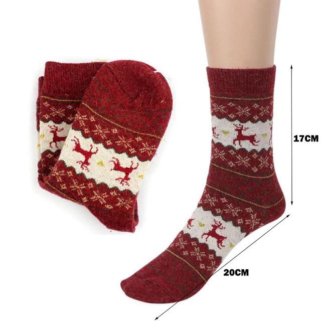 Christmas Deer Moose Design Casual Warm Winter Knit Wool Female Socks Christmas Decoration Supplies MR0022 5